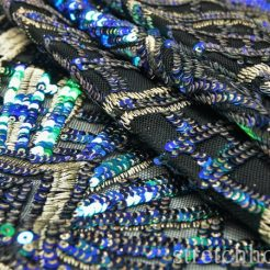 embroidery - DSC09753 246x246 - Pacific Blue/ Kelly  5mm Gold 3mm Glittery sequins Gold thread Embroidery on Black Spandex Nylon mesh