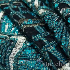 embroidery - DSC09764 246x246 - Aqua Blue 5mm Gold 3mm Glittery sequins Gold thread Embroidery on Black Spandex Nylon mesh