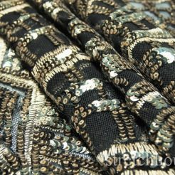 embroidery - DSC09782 246x246 - Gray 5mm Gold 3mm Glittery sequins Gold thread Embroidery on Black Spandex Nylon mesh